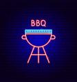 bbq neon label vector image vector image