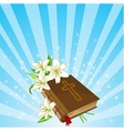 bible and lily flowers background vector image vector image