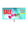 billboard with sale action get up thirty percent vector image