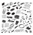 black ink random hand drawn scribbles set vector image