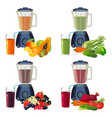 blender and glass of smoothie organic fruits and vector image vector image