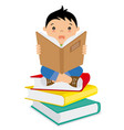 boy reading over a batch of books vector image vector image