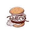 burger menu hand drawn sketch with lettering vector image