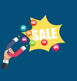 business concept of hand hold magnet attract sales vector image