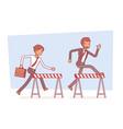 businessmen running over obstacles vector image