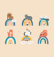 cats sit on rainbow vector image vector image