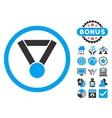 Champion Award Flat Icon with Bonus vector image vector image