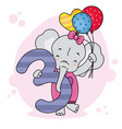 cheerful elephant with number three vector image