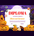child diploma certificate with halloween pumpkins vector image vector image