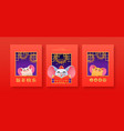 chinese new year 2020 cute rat costume card set vector image