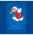 Christmas Angel Flying with a Magic Wand Winter vector image vector image