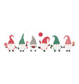 christms gnomes collection isolated on white vector image vector image