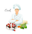 cook in uniform with delicious cake and fresh vector image vector image