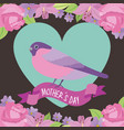 cute bird standing ribbon heart and flowers vector image