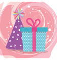 cute giftbox with hat party birthday card vector image vector image