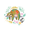 cute sloth bear animal character sleeping vector image vector image