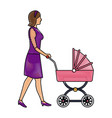 drawing mother with baby carriage vector image
