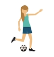 female athlete practicing football soccer vector image vector image