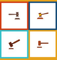 Flat icon lawyer set of hammer justice legal and
