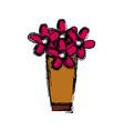 flower bouquet vase decorative plants cartoon vector image