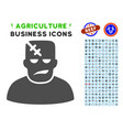 frankenstein icon with agriculture set vector image