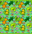 frogs and flowers on the waves seamless pattern vector image