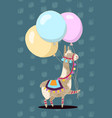greeting card design cheerful lama with vector image
