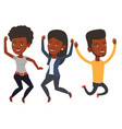 group of joyful young friends jumping vector image vector image