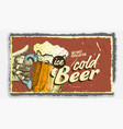 hand holding ice cold foamy beer glass vector image