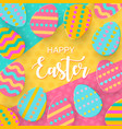 happy easter greeting banner with a lettering vector image vector image