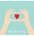 Happy Valentines day Woman hands in the form of vector image vector image