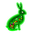 hare rabbit with flowers and leaves vector image