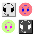 headphones flat icon vector image vector image