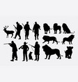 hunter animal silhouettes vector image vector image