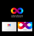infinity logo like rainbow ribbon business card vector image