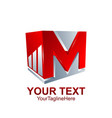 initial letter m logo template colored red grey vector image vector image