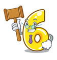 judge number six isolated on the mascot vector image vector image