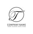 letter t script initial luxury logo design vector image vector image