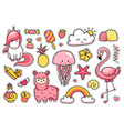 magic unicorn alpaca jellyfish pink flamingo vector image