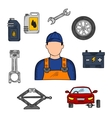 Mechanic and car service icons vector image vector image