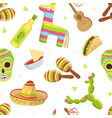 mexican travelling symbols seamless pattern vector image