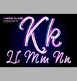 neon glowing 3d typeset font set glass vector image