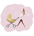 Portrait of beautiful young woman pushing baby vector image
