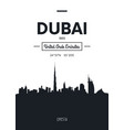poster city skyline dubai flat style vector image vector image
