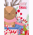 reindeer gifts and candy cane merry christmas vector image vector image