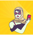 Retro lady taking selfie with smartphone camera vector image vector image