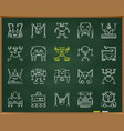 robot chalk draw line icons set vector image