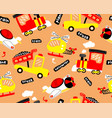 seamless pattern cartoon with transportation vector image