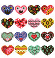 set of isolated vintage hearts vector image vector image