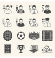 staff and people in soccer championship icons vector image vector image